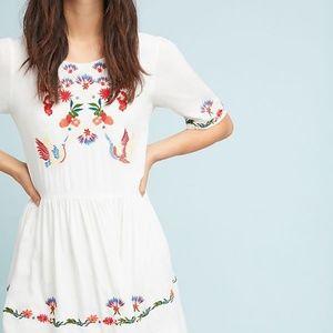 Anthropologie Allison Garden Love Swing Dress Embr
